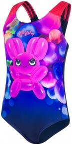 Speedo Shimmer Bounce Essential Applique 1 Piece Girl Navy/Post It Pink