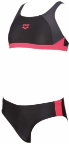 Arena G Ren Two Pieces Junior Black/Deep Grey/Fluo Red