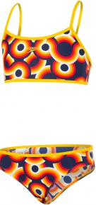 Speedo Allover 2Pce Girl Navy/Pure Yellow/Pure Orange