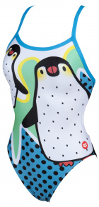 Arena Crazy Penguins X Criss Cross Back One Piece Black/Turquoise
